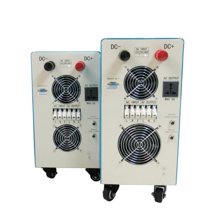 二、产品特性: 1、纯正弦波输出; 2、CPU管理,智能控制,模块式组成; 3、LCD、LED显示,可以直观的显示机器的全部运行参数以及工作状态; 4、有睡眠模式和正常开机模式;可设置输出优先级别,可设置输出频率50HZ或60HZ,满足客户不同背景使用; 5、高转换效率,转换效率在87%~98%之间;低空耗,在睡眠状态下,损耗在1W~6W之间;是太阳能风能发电系统最佳选择的太阳能逆变器; 6、可为全球8种不同类型的电池充电,如密封铅酸电池,开放式铅酸电池,胶体电池等,注:锂电池需要根据客户使用的规格,在